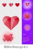 Przejrzysty Czerwony Poligonalny serce dla Szczęśliwej walentynki Fotografia Stock