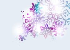 Przejrzysty płatek śniegu kartki bożonarodzeniowa tło Zdjęcia Royalty Free