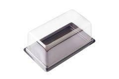 Przejrzysty plastikowy pudełko na białym tle. obraz stock