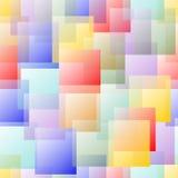 Przejrzysty pokrywa się kwadratowy projekt w pastelowej tęczy barwi na białym tle Obrazy Stock