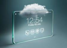 Przejrzysty smartphone z chmurą oblicza technologię Obraz Stock