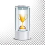 Przejrzysty Szklany Muzealny gabloty wystawowej podium Z Złotą filiżanką, światłem reflektorów I iskrami, Egzamin próbny W górę k ilustracji