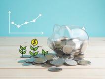 Przejrzysty widzii prosiątko banka wypełniającego z monetami na drewnianym tle Oszczędzanie koloru inwestorski pojęcie Zdjęcie Royalty Free