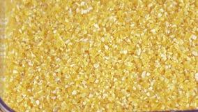 Przejrzysty zbiornik z kukurydzanymi groats zbiory wideo