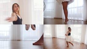 (1) 4 przekładni Młodej kobiety balerina trenuje jej tana w jaskrawym studiu zdjęcie wideo