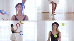 (1) 4 przekładni Młodej kobiety baleriny spełniania cyrka sztuczki w jaskrawym studiu zbiory wideo