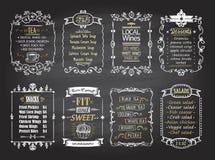 Przekąski, sałatki, desery, polewki, lokal wina i herbaciani chalkboard menu listy projekty ustawiający, royalty ilustracja