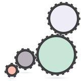 Przekładni colourfull Cogwheel i rozwój ikona Obrazy Stock