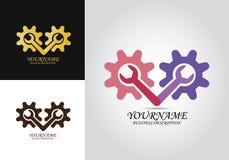 Przekładni naprawy projekta logo ilustracja wektor