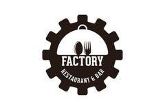 przekładnia, łyżka i rozwidlenie, fabryczny restauracyjny logo Projektujemy inspirację Odizolowywającą na Białym tle royalty ilustracja