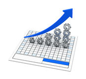 Przekładnia i Błękitny Wykres Obraz Stock