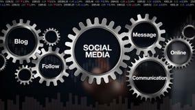Przekładnia z słowem kluczowym, blog, Podąża, komunikacja, wiadomość, Online Biznesmena dotyka ekran 'Ogólnospołeczni środki'