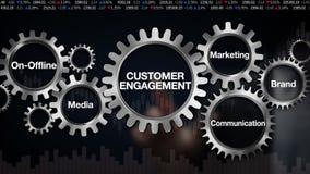 Przekładnia z słowem kluczowym Medialnym, autonomiczny, gatunek, marketing, komunikacja Biznesmena dotyka ekran 'klienta zobowiąz ilustracja wektor