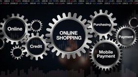 Przekładnia z słowem kluczowym, Onlinym, kredyt, Nabywający, Mobilna zapłata Biznesmena dotyka ekran 'ONLINE zakupy' royalty ilustracja