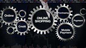 Przekładnia z słowem kluczowym, Onlinym, kredyt, Nabywający, Mobilna zapłata Bizneswomanu macania ekran 'ONLINE zakupy' ilustracja wektor