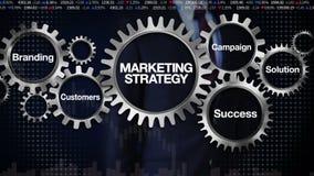 Przekładnia z słowem kluczowym, Oznakuje, rozwiązanie, klienci, kampania, sukces Biznesmena macanie 'strategia marketingowa' ilustracji