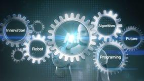 Przekładnia z słowem kluczowym, przyszłość, programowanie, algorytm, innowacja, robot, robota cyborga macania ekranu ` A Ja ` ilustracja wektor