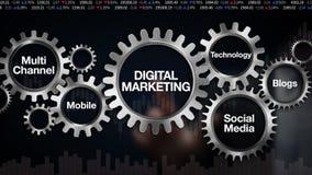 Przekładnia z słowem kluczowym, technologia, blogi, Ogólnospołeczni środki, Wielo- kanał, wisząca ozdoba, biznesmena dotyka ekran ilustracji