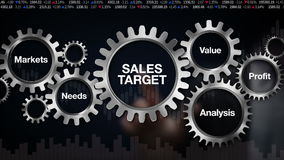 Przekładnia z słowem kluczowym, Wprowadzać na rynek, potrzeby, zysk, analiza, wartość Biznesmena dotyka ekran 'sprzedaż cel' ilustracja wektor
