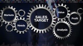 Przekładnia z słowem kluczowym, Wprowadzać na rynek, potrzeby, zysk, analiza, wartość Biznesmena macanie 'sprzedaż cel' ilustracja wektor