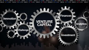 Przekładnia z słowem kluczowym, wyzwanie, innowacja, inwestycja, finanse, analityka, biznesmena dotyka ekran 'kapitał inwestycyjn ilustracji