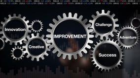 Przekładnia z słowem kluczowym, wyzwanie, innowacja, Kreatywnie, przygoda, sukces, biznesmena dotyka ekran 'ulepszenie' royalty ilustracja