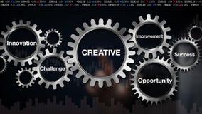 Przekładnia z słowem kluczowym, wyzwanie, innowacja, sposobność, ulepszenie, sukces, biznesmena dotyka ekran 'KREATYWNIE' ilustracji