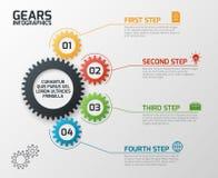 Przekładnie Infographics Cogs przygotowywa proces planowania, linii czasu i inżynierii infochart z opcja wektoru prezentacją, ilustracji