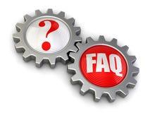 Przekładnie z poszukiwaniem i FAQ (ścinek ścieżka zawierać) Zdjęcie Stock