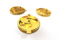 Przekładnie z złotym dolarowym znakiem, funt, euro symbol, 3D illustrati Zdjęcia Royalty Free