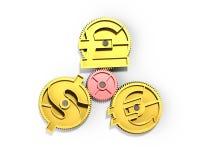 Przekładnie z złotym dolarowym znakiem, funt, euro symbol, 3D illustrati Obrazy Stock