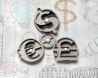 Przekładnie z dolarowego znaka, funta i euro symbolem, Obrazy Royalty Free