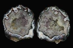 Przekrój poprzeczny agata kamień z kwarcową geodą Zdjęcie Royalty Free