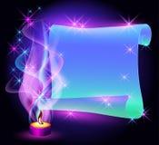 przekręcający świeczka płonący pergamin Fotografia Stock