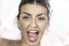 Przelękła kobieta Obrazy Royalty Free