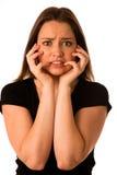 Przelękła kobieta - preety dziewczyna gestykuluje strach zdjęcie royalty free