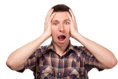 Przelękły mężczyzna w szkockiej kraty koszula krzykach Obraz Royalty Free