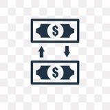 Przelew pieniędzy wektorowa ikona odizolowywająca na przejrzystym tle, M royalty ilustracja