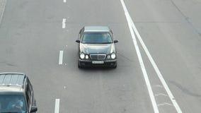 Przelotny samochodu czasu upływ, odgórnego kąta widok, pojazd przejażdżki prędkość zdjęcie wideo