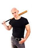 Przemoc i agresi pojęcie - wściekły krzyczący gniewny mężczyzna ręki mienia baseballa sporta nietoperz obraz royalty free