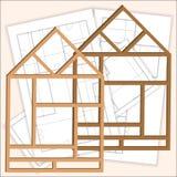 Przemodelowywać dom Jeden rama dom z projektami w tle Obrazy Royalty Free