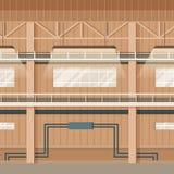 Przemysłowej fabryki magazynu przestrzeni Pusty wnętrze ilustracji
