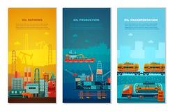 Przemysłów Naftowych Pionowo sztandary Ustawiający Zdjęcia Stock