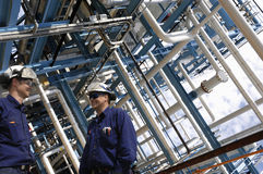 Przemysłów rurociąg pracowników budowa i zdjęcie royalty free