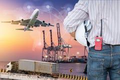 Przemysł ciężki ładunku statku terminal i logistyki transportati fotografia royalty free