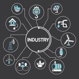 Przemysł i manufactoring ikony infographic, royalty ilustracja