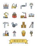Przemysł wypełniający kreskowy ikona wektoru set Zdjęcie Stock