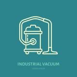 Przemysłowa próżniowego cleaner mieszkania linii ikona, logo Wektorowa ilustracja gospodarstwa domowego urządzenie dla sprzątania royalty ilustracja