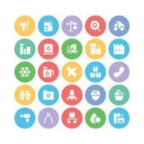 Przemysłowe Barwione Wektorowe ikony 5 Obrazy Stock