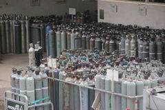 Przemysłowe benzynowe butle Fotografia Royalty Free